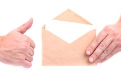 Hands holding envelopes with letters on the white background iso. Lated Royalty Free Stock Photography