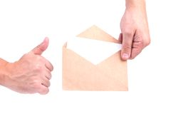 Hands holding envelopes with letters on the white background iso. Lated Royalty Free Stock Images