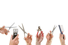 Hands holding equipment for pets grooming isolated Royalty Free Stock Photo
