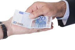 Hands holding european money Royalty Free Stock Images