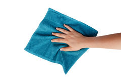 Hands Holding Fabric Cleaning Towel Stock Photo