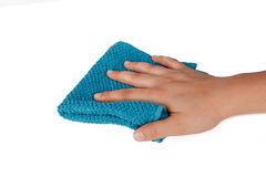 Hands Holding Fabric Cleaning Towel Stock Image
