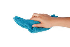 Hands Holding Fabric Cleaning Towel Royalty Free Stock Image