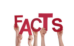 Hands Holding Fact. Many Hands Holding the Word Facts, Isolated Stock Photos