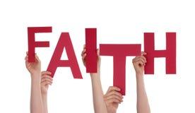 Hands Holding Faith. Many Hands Holding the Word Faith, Isolated stock image