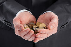 Hands holding finance coins Stock Image