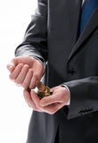 Hands holding finance coins Royalty Free Stock Images