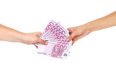 Hands holding five hundreds euro banknotes. Stock Photography