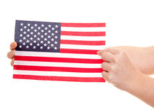 Hands holding flag of the USA Stock Photos