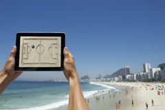 Hands Holding Football Tactics Board Rio Beach Brazil Stock Image