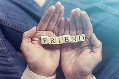Hands holding Friend message Royalty Free Stock Image