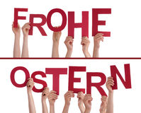 Hands Holding Frohe Ostern Royalty Free Stock Image