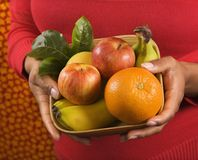 Hands holding fruit basket. Royalty Free Stock Images