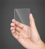 Hands holding futuristic transparent mobile phone. Image of hands holding futuristic transparent mobile phone Stock Images