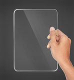 Hands holding futuristic transparent tablet pc Stock Photo