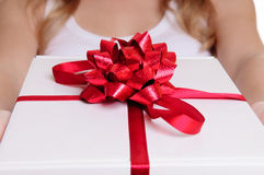Hands holding gift box Royalty Free Stock Photos