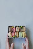 Hands holding gift box with delicious macaroons on the light blue background, top view Royalty Free Stock Photography