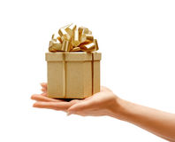Hands holding gift box Stock Photo