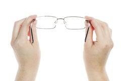 Hands holding glasses Stock Photos