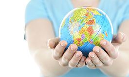 Hands holding globe Royalty Free Stock Photos