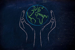 Hands holding globe, concept of green economy. Green economy and ecology: metaphor of hands holding the planet Stock Photo