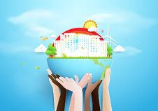 Hands holding globe and Eco city concept. Paper art and craft style Royalty Free Stock Photography