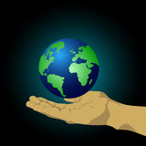 Hands holding a globe Stock Photo