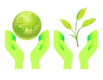 Hands holding the globe and a green plant Royalty Free Stock Image