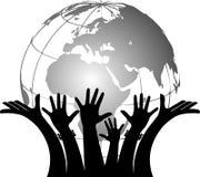 Hands holding globe vector illustration