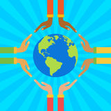 Hands holding globe. Save earth concept vector illustration Stock Images