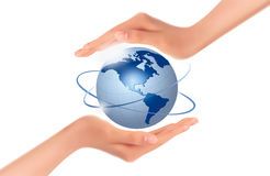 Hands holding globe.  Vector Royalty Free Stock Photos