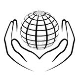 Hands holding a globe Royalty Free Stock Photos