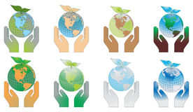Hands holding the globes Stock Photo
