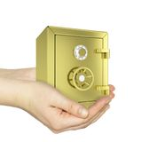 Hands holding gold safe. Isolated on white background. safety concept Stock Photography