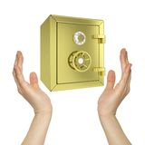 Hands holding gold safe. Isolated on white background. safety concept Royalty Free Stock Photo