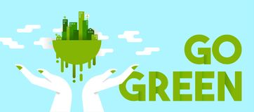 Hands holding green city for planet ecology Stock Photography