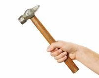 Hands holding hammer Royalty Free Stock Photo
