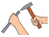 Hands holding a hammer and chisel Stock Image