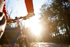 Hands holding handlebar of a bicycle Royalty Free Stock Photo