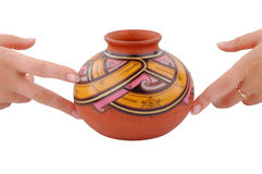 Hands holding handmade vase Royalty Free Stock Photography