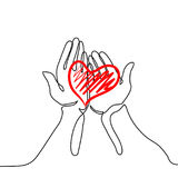 Hands holding a heart. Continuous line drawing. Vector illustration Royalty Free Stock Photos