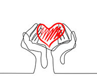 Hands holding a heart. Continuous line drawing. Vector illustration Royalty Free Stock Images