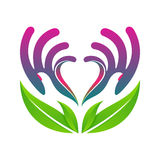 Hands holding heart eco health concept vector eps10 Stock Images