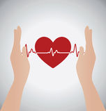 Hands Holding Heart of Heartbeat Electrocardiograph Royalty Free Stock Photo