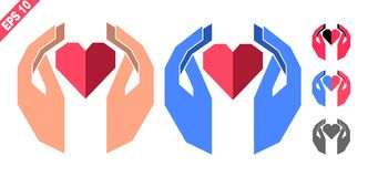 Hands holding the heart. Logo, emblem, symbol, sign in geometric style and two colors Stock Photos