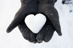 Hands Holding Heart Made Out Of Snow royalty free stock image