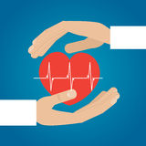 Hands holding heart. Medical icon. Illustration Stock Photo