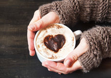 Hands Holding Heart Shape Cappuccino Royalty Free Stock Image