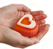 Hands holding the heart of soap Stock Image