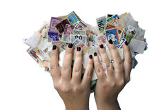 Hands holding a heart of stamps Stock Photography